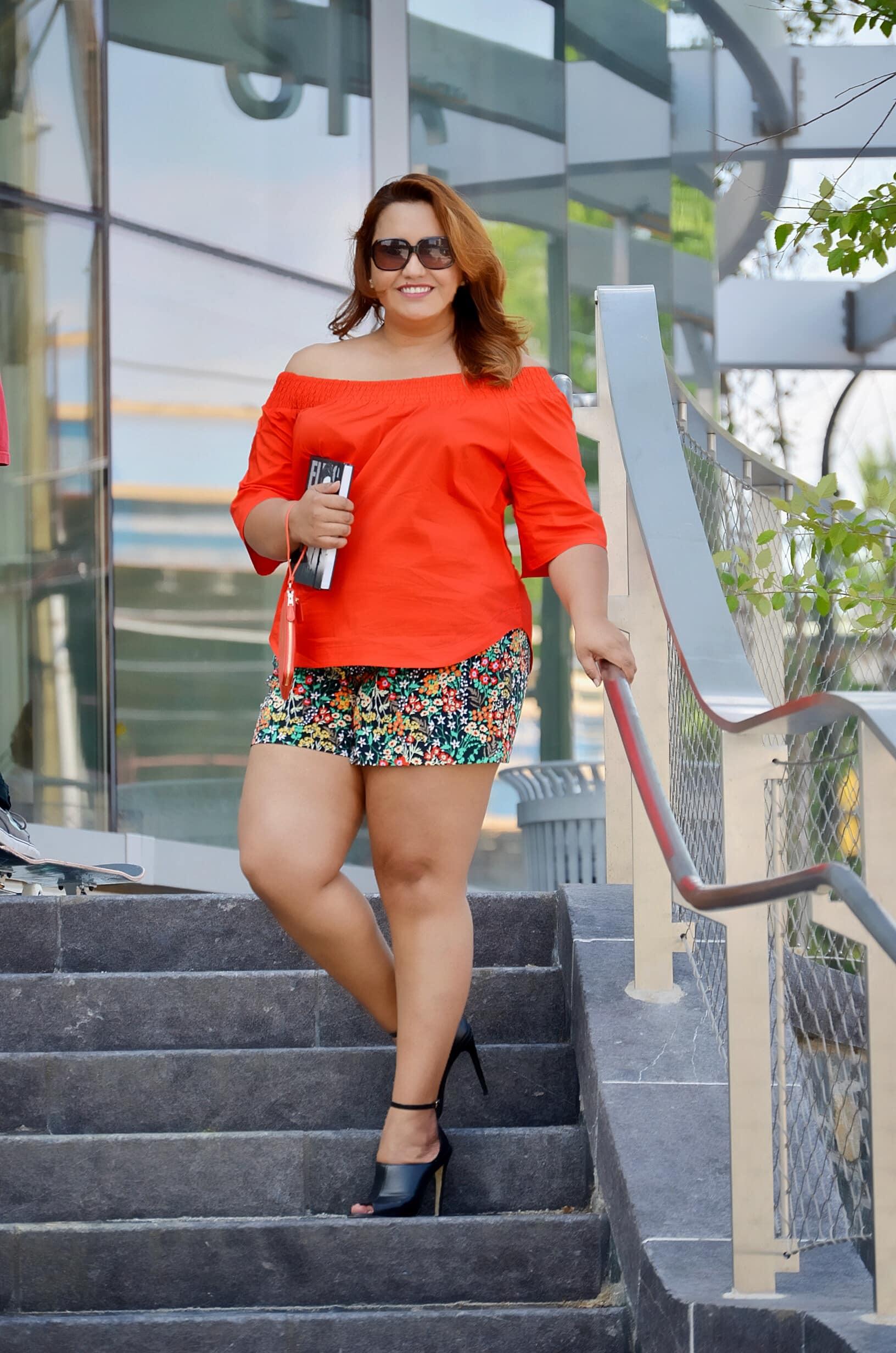 floral-shorts-orange-off-sholders-top