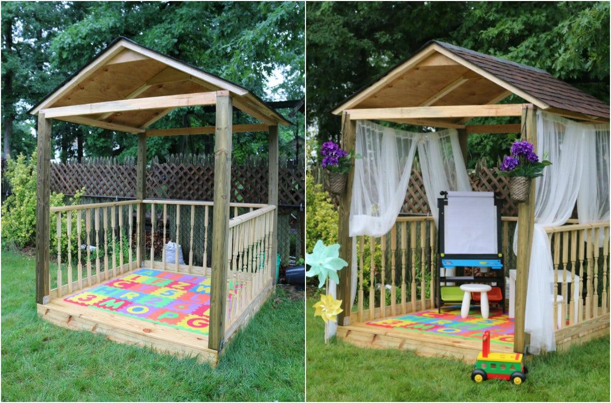 collage - Cómo construir una casita de juegos para el jardín