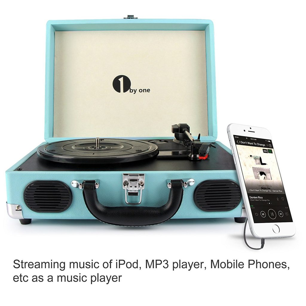 1byone Belt-Drive 3-Speed Portable Stereo Turntable with Built in Speakers