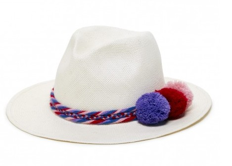 WOVEN-STRAW-HAT-WITH- POM-POMS