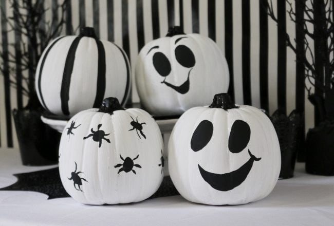 Ideas-para-decorar-Calabazas-Blanco-y-Negro