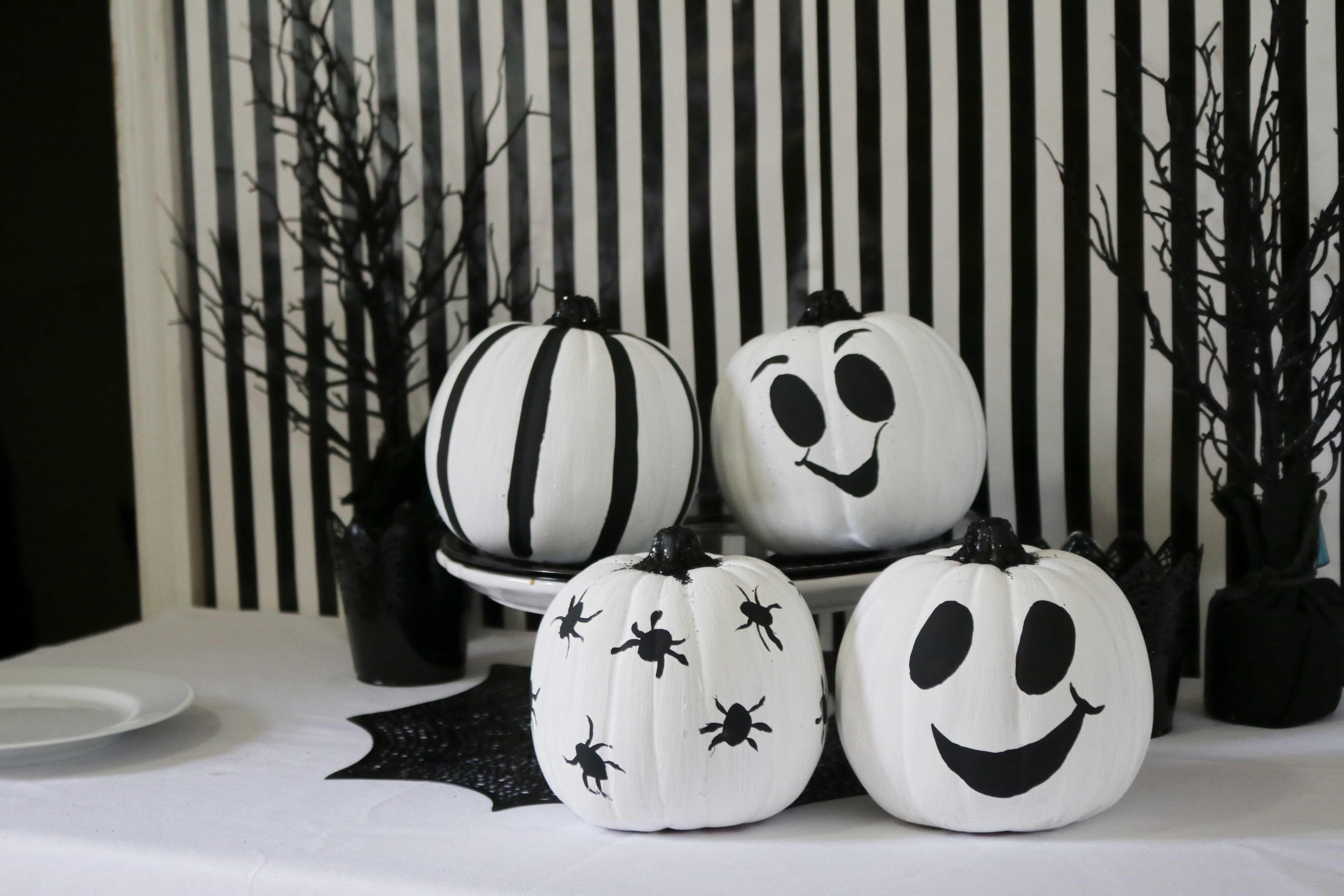 Ideas-para-decorar-Calabazas-Blanco-y-Negro